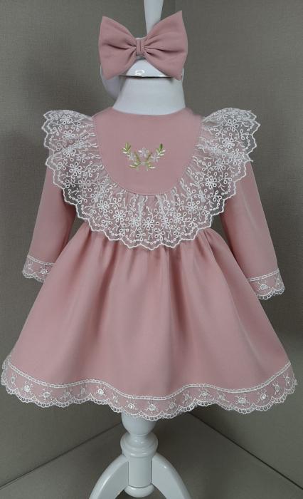Rochie cu dantela - roz prăfuit [0]