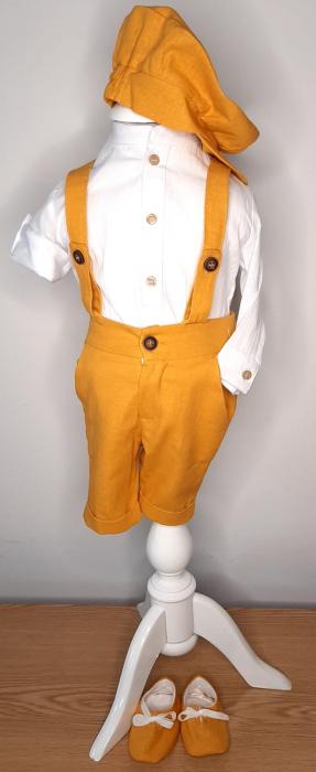 Costum pantalon scurt cu bretele - galben muștar [0]