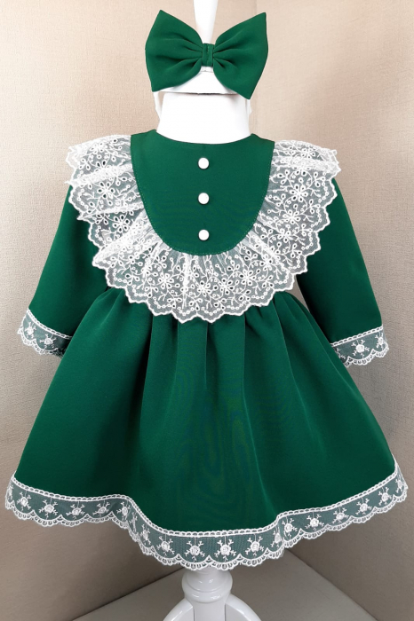 Rochie cu dantela - verde [0]