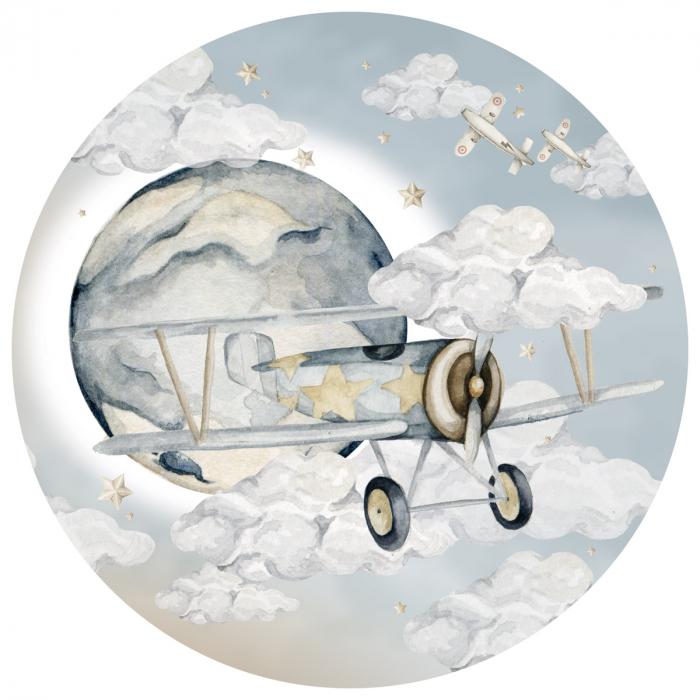 Autocolant Camera Copii Cerc Avion [0]
