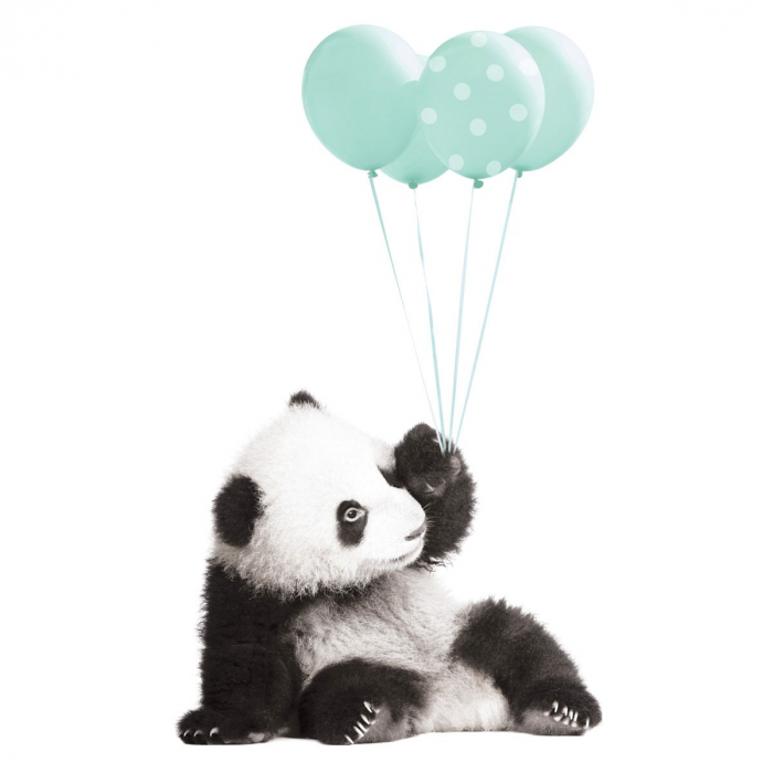 Autocolant Camera Copii Panda Mint Balloons [1]