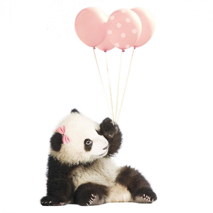 Autocolant Camera Copii Panda Pink Balloons [1]