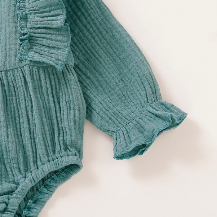 Body Creponat Cu Maneca Lunga Verde Inchis Fetite [5]