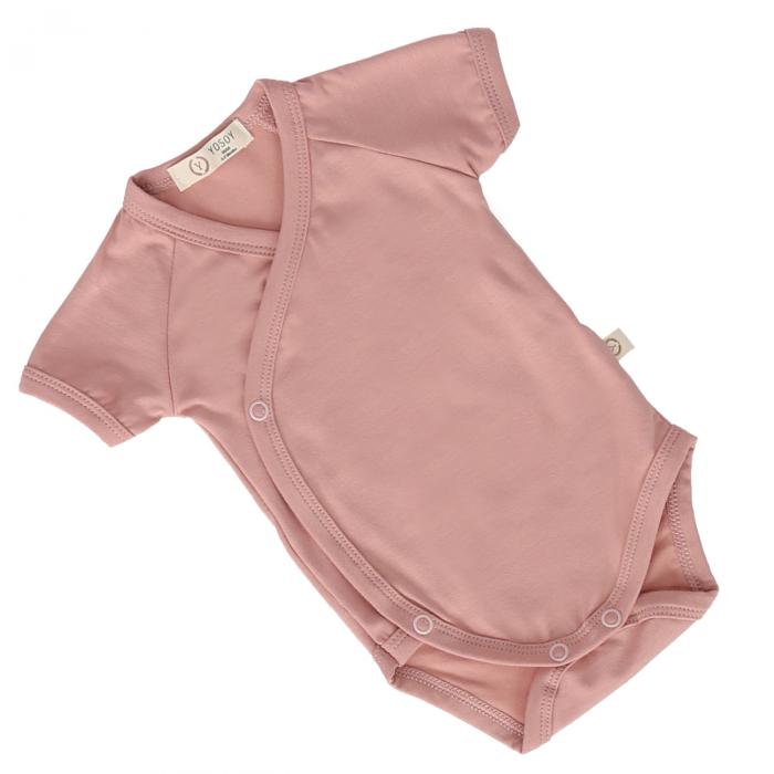 Body Din Bambus Cu Maneca Scurta Premium Dusty Pink [0]