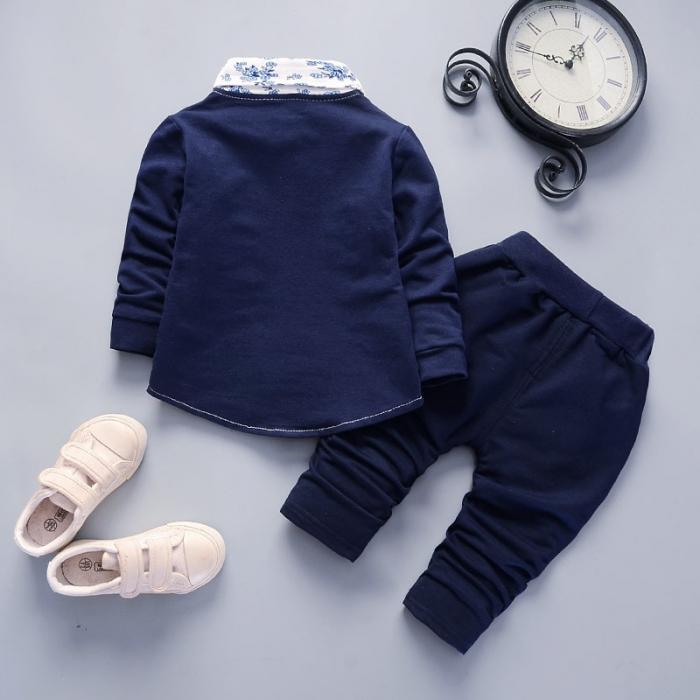 Costum Casual Albastru Inchis Baieti 9-24 Luni [1]