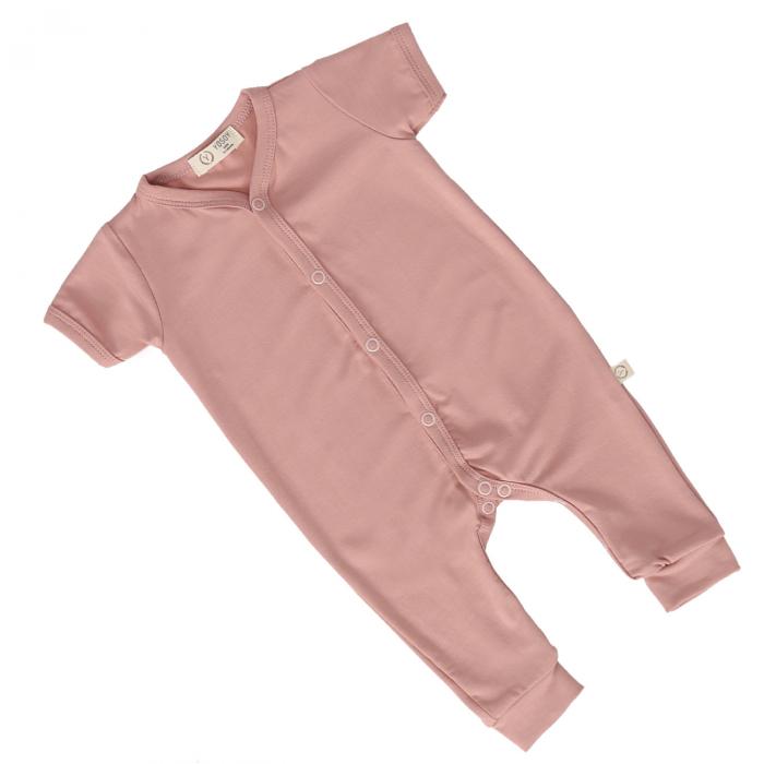 Salopeta Din Bambus Cu Maneca Scurta Premium Dusty Pink [0]