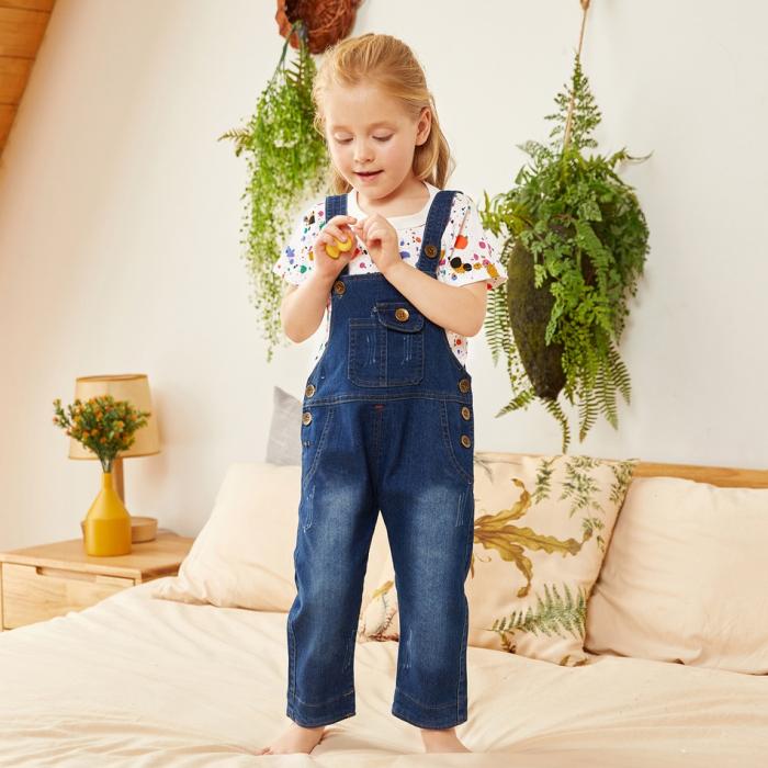 Salopeta Jeans Albastra Unisex 1-3 Ani [4]