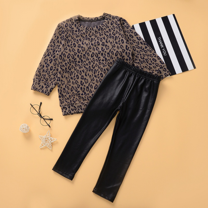 Set Bluza Leopard Si Pantaloni Pentru Fete 2-5 Ani [0]
