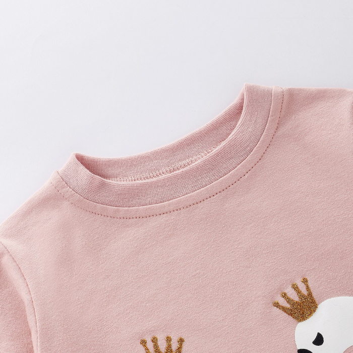 Set Bluza Si Pantaloni Cu Lebada Roz Pentru Fete 6 Luni- 3 Ani [4]