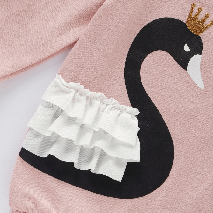 Set Bluza Si Pantaloni Cu Lebada Roz Pentru Fete 6 Luni- 3 Ani [5]
