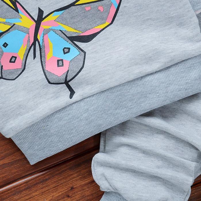 Set Bluza Si Pantaloni Fluturi Gri Fete 18 Luni-5 Ani [1]