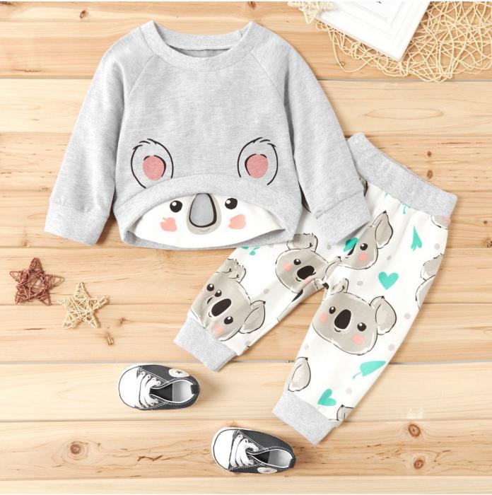 Set Bluza Si Pantaloni Panda Gri Unisex 9-12 Luni [0]