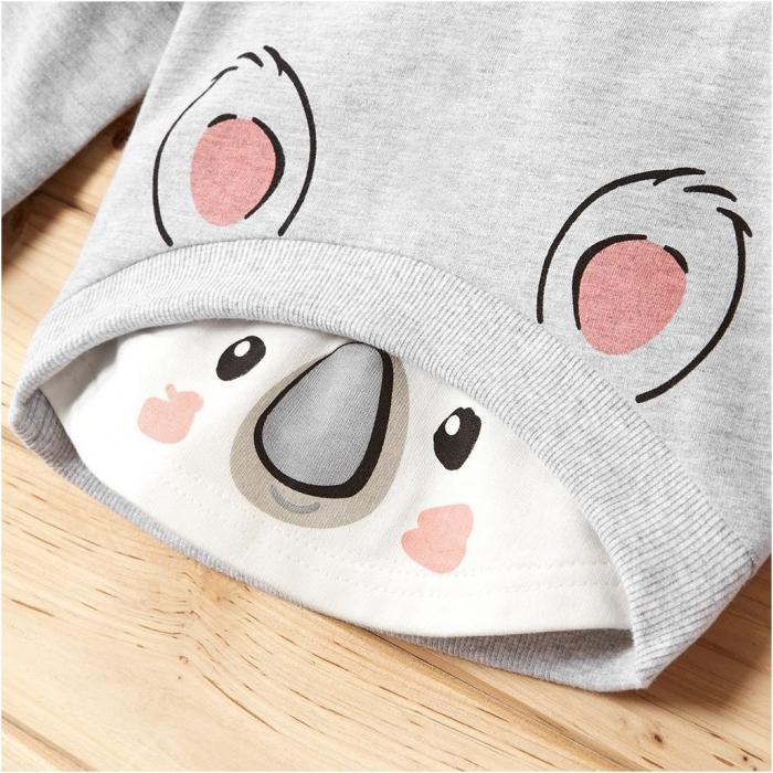 Set Bluza Si Pantaloni Panda Gri Unisex 9-12 Luni [2]