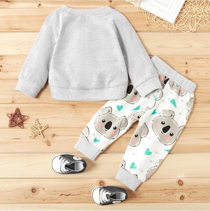 Set Bluza Si Pantaloni Panda Gri Unisex 9-12 Luni [1]
