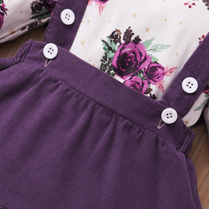 Set Body Cu Flori Fustita Si Bentita Violet Fete [4]