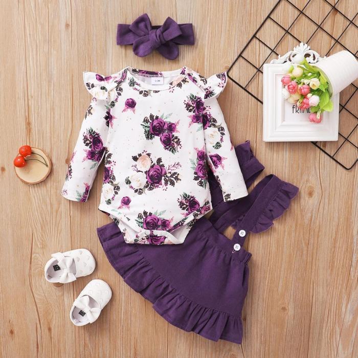 Set Body Cu Flori Fustita Si Bentita Violet Fete [1]