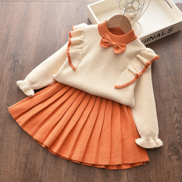 Set Fustita Si Bluza Tricotate Pentru Fetite Portocalie 18 Luni- 5 Ani [1]