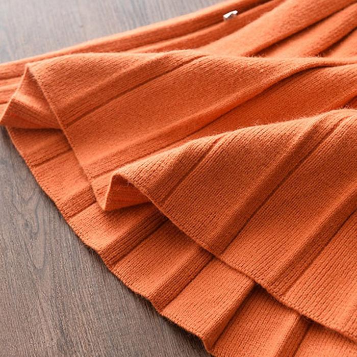 Set Fustita Si Bluza Tricotate Pentru Fetite Portocalie 18 Luni- 5 Ani [6]