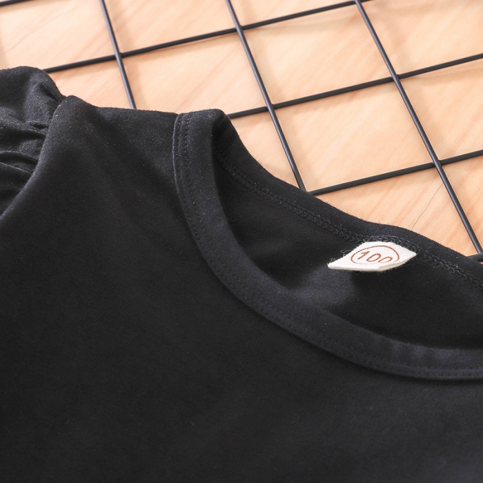 Set Salopeta Neagra Si Bluza Pentru Fete 2-5 Ani [1]