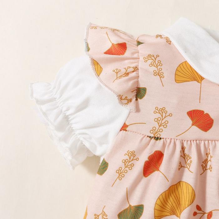 Set Salopeta si Camasa Cu Frunze Si Flori Fetite [3]
