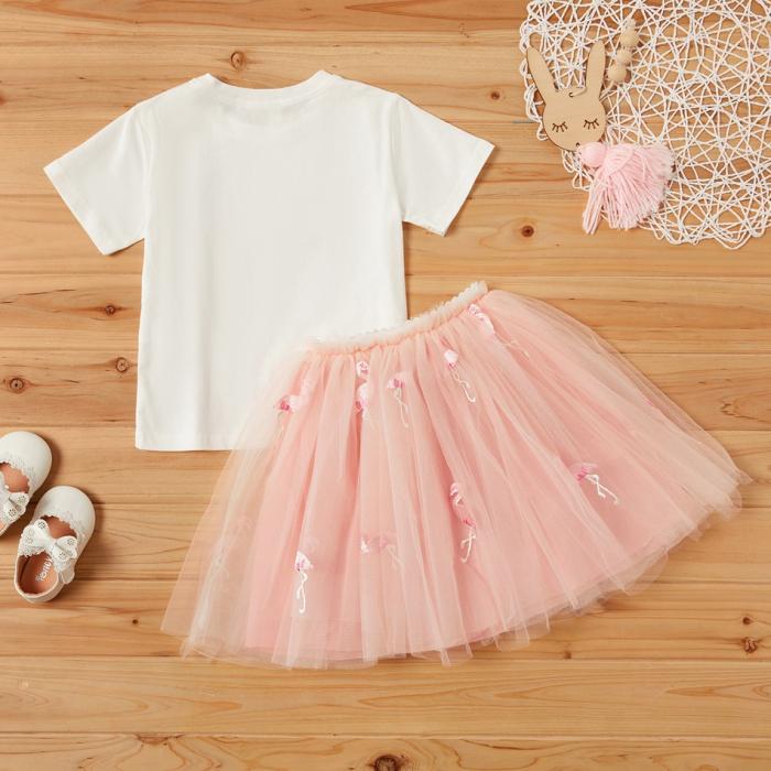 Set Tricou si Fusta Tul Flamingo Fetite [1]