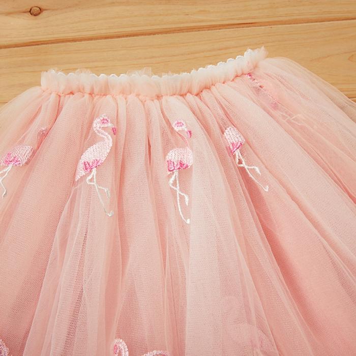 Set Tricou si Fusta Tul Flamingo Fetite [2]