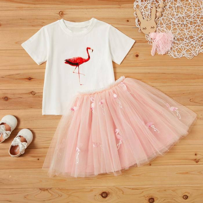 Set Tricou si Fusta Tul Flamingo Fetite [0]