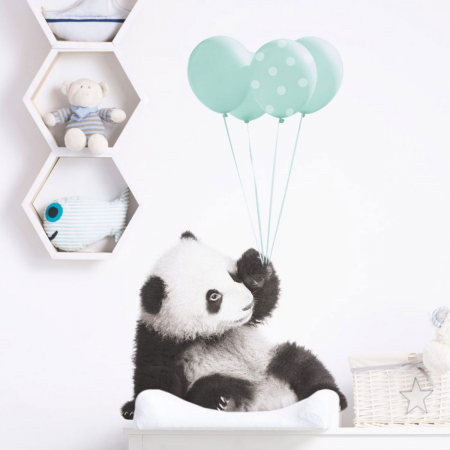 Autocolant Camera Copii Panda Mint Balloons [0]