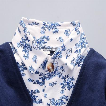 Costum Casual Albastru Inchis Baieti 9-24 Luni [2]