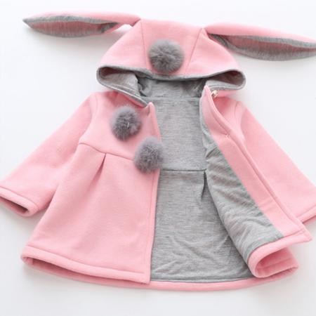 Palton Roz cu Urechi de Iepuras Pentru Fete PT00025 [2]