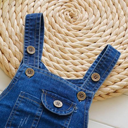 Salopeta Jeans Albastra Unisex 1-3 Ani [2]