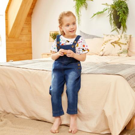 Salopeta Jeans Albastra Unisex 1-3 Ani [3]