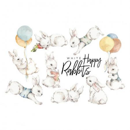 Set autocolante pentru camera copiilor White Wonder Rabbits [1]