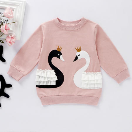 Set Bluza Si Pantaloni Cu Lebada Roz Pentru Fete 6 Luni- 3 Ani [3]