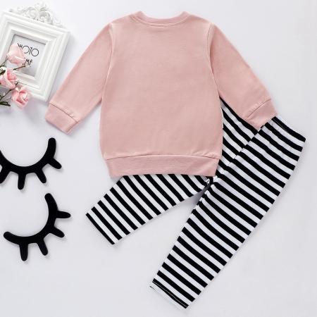 Set Bluza Si Pantaloni Cu Lebada Roz Pentru Fete 6 Luni- 3 Ani [1]