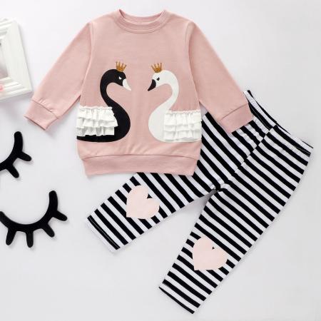 Set Bluza Si Pantaloni Cu Lebada Roz Pentru Fete 6 Luni- 3 Ani [0]