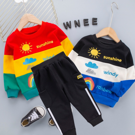 Set Bluza Si Pantaloni Sunshine Albastru Baieti 1-3 Ani [5]