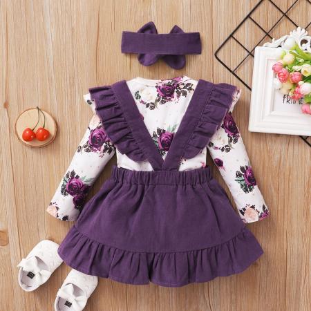 Set Body Cu Flori Fustita Si Bentita Violet Fete [2]
