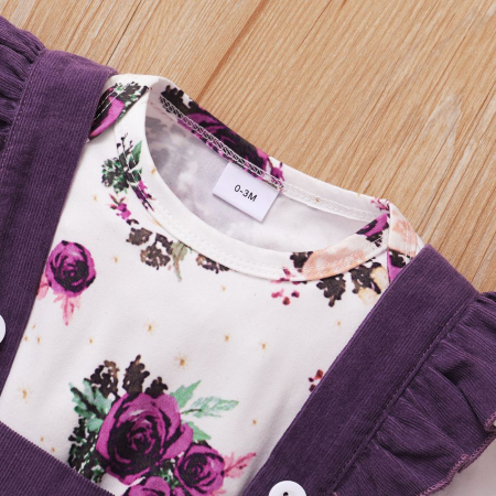 Set Body Cu Flori Fustita Si Bentita Violet Fete [3]