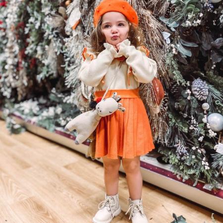 Set Fustita Si Bluza Tricotate Pentru Fetite Portocalie 18 Luni- 5 Ani [5]