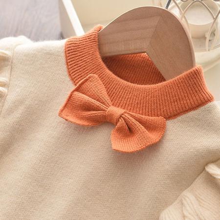 Set Fustita Si Bluza Tricotate Pentru Fetite Portocalie 18 Luni- 5 Ani [2]