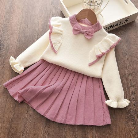 Set Fustita Si Bluza Tricotate Pentru Fetite Roz 18 Luni - 5 Ani [1]