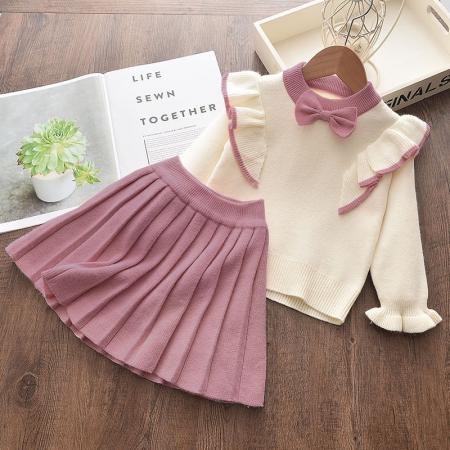 Set Fustita Si Bluza Tricotate Pentru Fetite Roz 18 Luni - 5 Ani [0]
