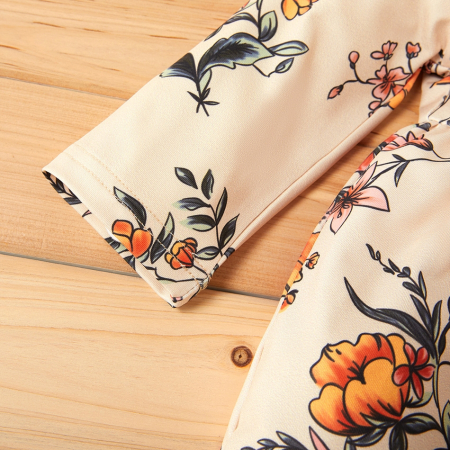 Set Pantaloni Bluza Si Bentita Galben Cu Flori [4]