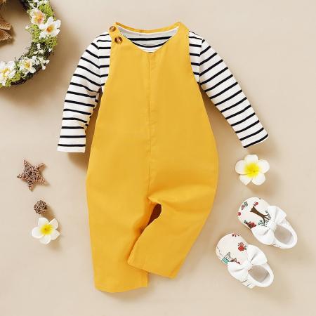 Set Salopeta Galbena Si Bluza Pentru Fete 2-5 Ani [1]