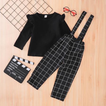 Set Salopeta Neagra Si Bluza Pentru Fete 2-5 Ani [0]