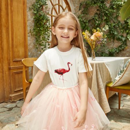 Set Tricou si Fusta Tul Flamingo Fetite [4]