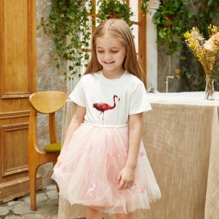 Set Tricou si Fusta Tul Flamingo Fetite [3]