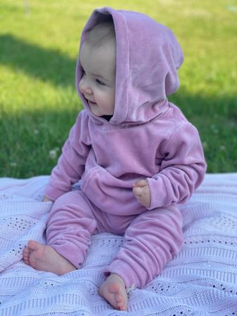 Trening Din Velur Roz Pentru Fete [2]