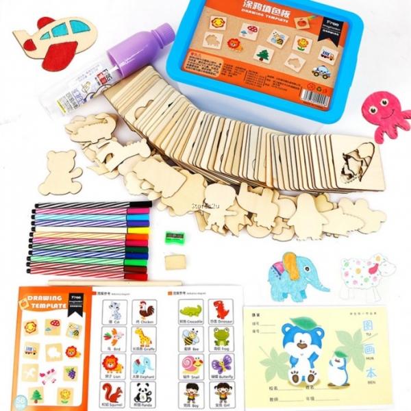 Trusa desen cu Sabloane din lemn si accesorii pentru copii 0